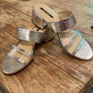 Zara Basic metallic silver sandals